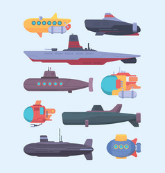 underwater boat submarines diving ocean vector image