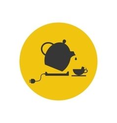 Electric kettle and tea cup silhouette vector image vector image