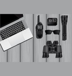 the equipment of a spy or private detective vector image