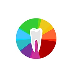 Tooth with rainbow colorful sectors sign vector image vector image