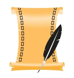 ancient scroll with a feather vector image vector image