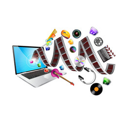 laptop multimedia vector image vector image