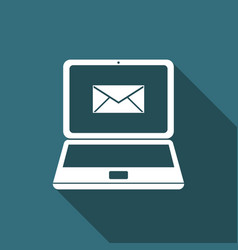 laptop with envelope and open email on screen icon vector image