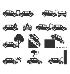 Car crash and accidents icon set vector image