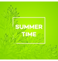 Frame with leaves and the inscription Summer time vector image