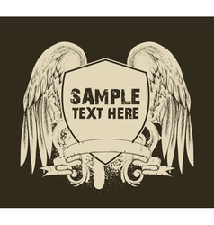 grunge t-shirt design with shield vector image vector image