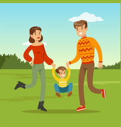 happy young father and mother spending time with vector image vector image