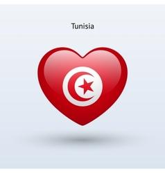 Love tunisia symbol heart flag icon vector