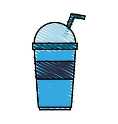 color crayon stripe cartoon blue plastic cup with vector image