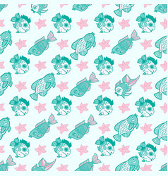 fabric textile seamless pattern with sea fishes vector image vector image