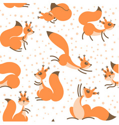 little cute squirrels under snowfall seamless vector image vector image