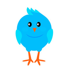 little funny blue bird flat icon vector image vector image