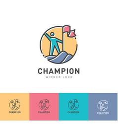 logo champion winner man flag mountain vector image