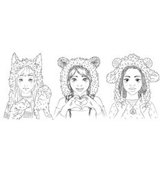 portraits of cute young girls in animal hats vector image
