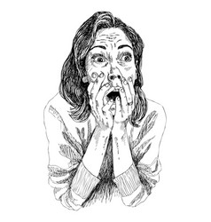 a girl in shocked emotion woman holds a hand near vector image