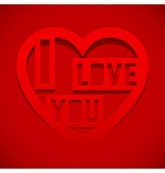 Abstract heart with text I love you vector image