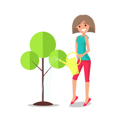 adult woman watering tree from metal can vector image