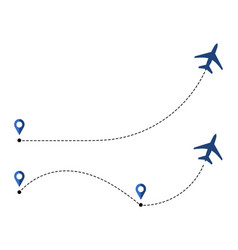 airplane travel concept with map pins gps points vector image