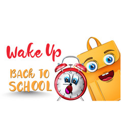 alarm clock back to school funny character vector image