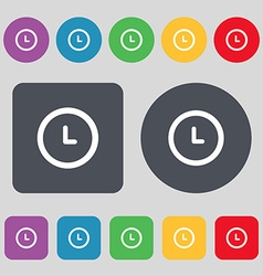 alarm icon sign A set of 12 colored buttons Flat vector image