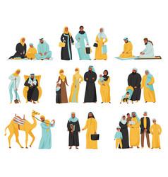 Arabs family icon set vector