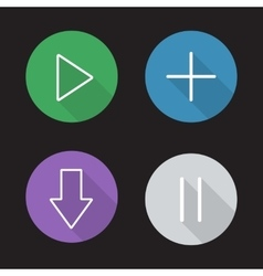 Audio player control panel flat linear icons set vector image
