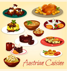 Austrian cuisine dishes and desserts vector