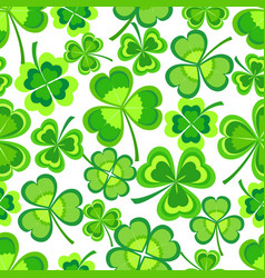 background seamless pattern with green shamrock vector image
