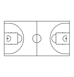 Basketball court line background outline vector