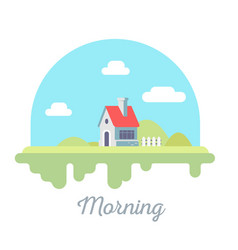 beautiful of house with chimney and fence on vector image
