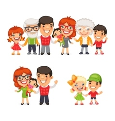 Big and Happy Family Set vector