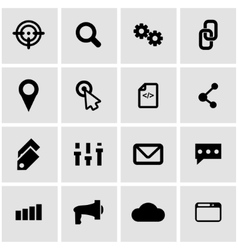 black seo icon set vector image