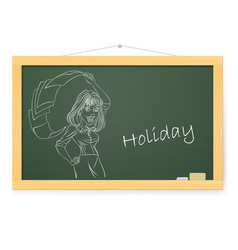 blackboard with business woman and holiday on vector image
