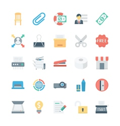 Business and office colored icons 7 vector