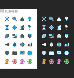 business icons light and dark theme vector image