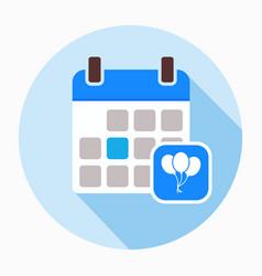Calendar with party balloon icon vector