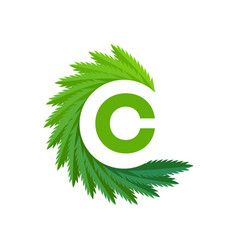 cannabis letter c logo vector image