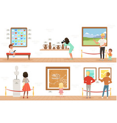 cartoon characters people visitors in art museum vector image