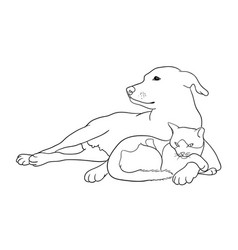 Cat and dog line art 09 vector