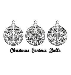 christmas balls contours vector image