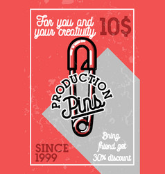 color vintage pins production banner vector image