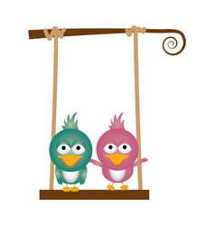 colorful background of caricature couple birds on vector image