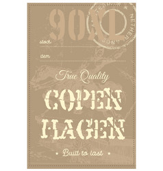 copenhagen true quality clothing tag vector image