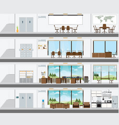 cutaway office building with interior design plan vector image
