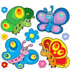 Cute butterflies collection vector