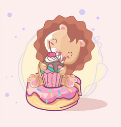 cute lion with cake for kids vector image