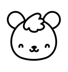 cute teddy bear face toy cartoon icon line style vector image