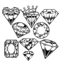 Diamond clip art graphics black set vector