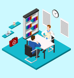 Doctors room isometric composition vector