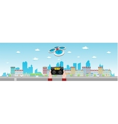 Drone Flies Above Long City vector image